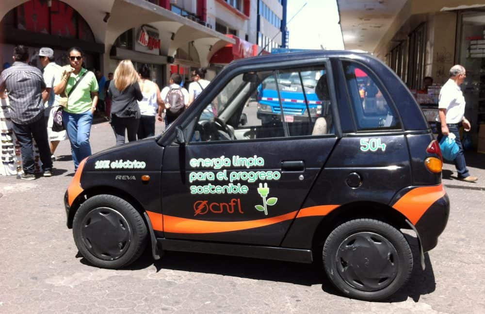 Costa Rica electric cars; one in San José, Feb 2016.