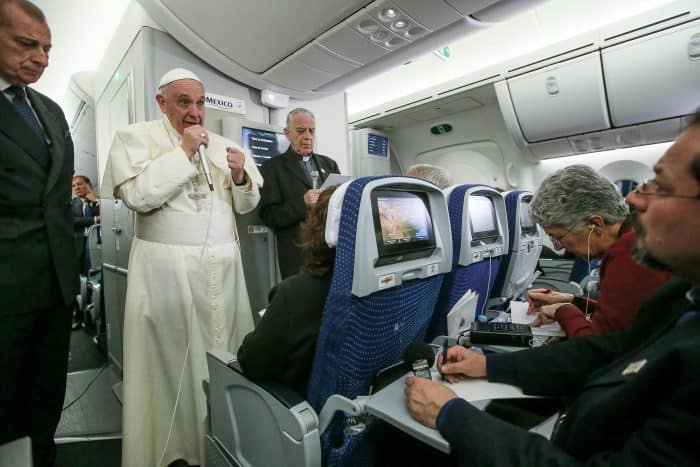 Pope Francis speaks to journalists aboard a flight from Mexico to Italy