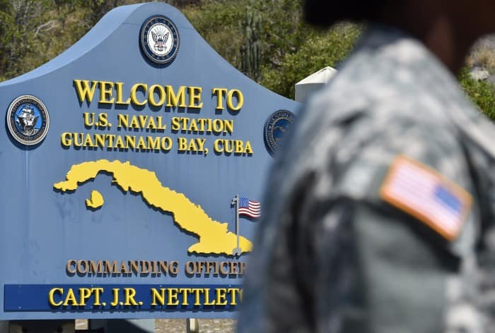 Sign at Guantanamo prison