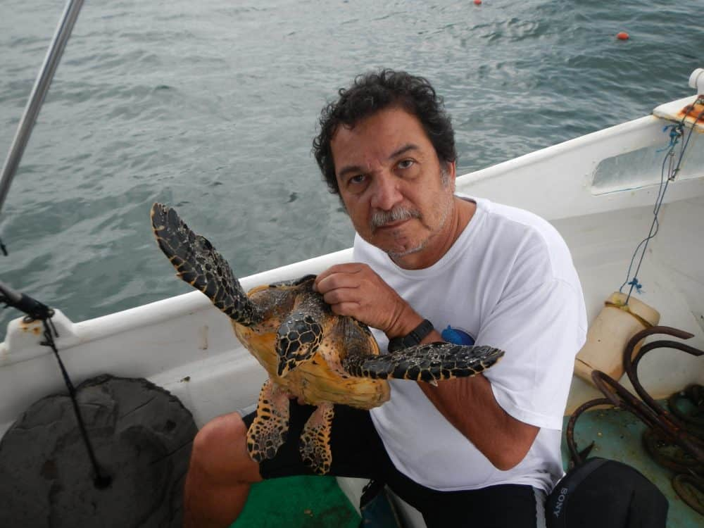 Randall Arauz with hawksbill sea turtle.