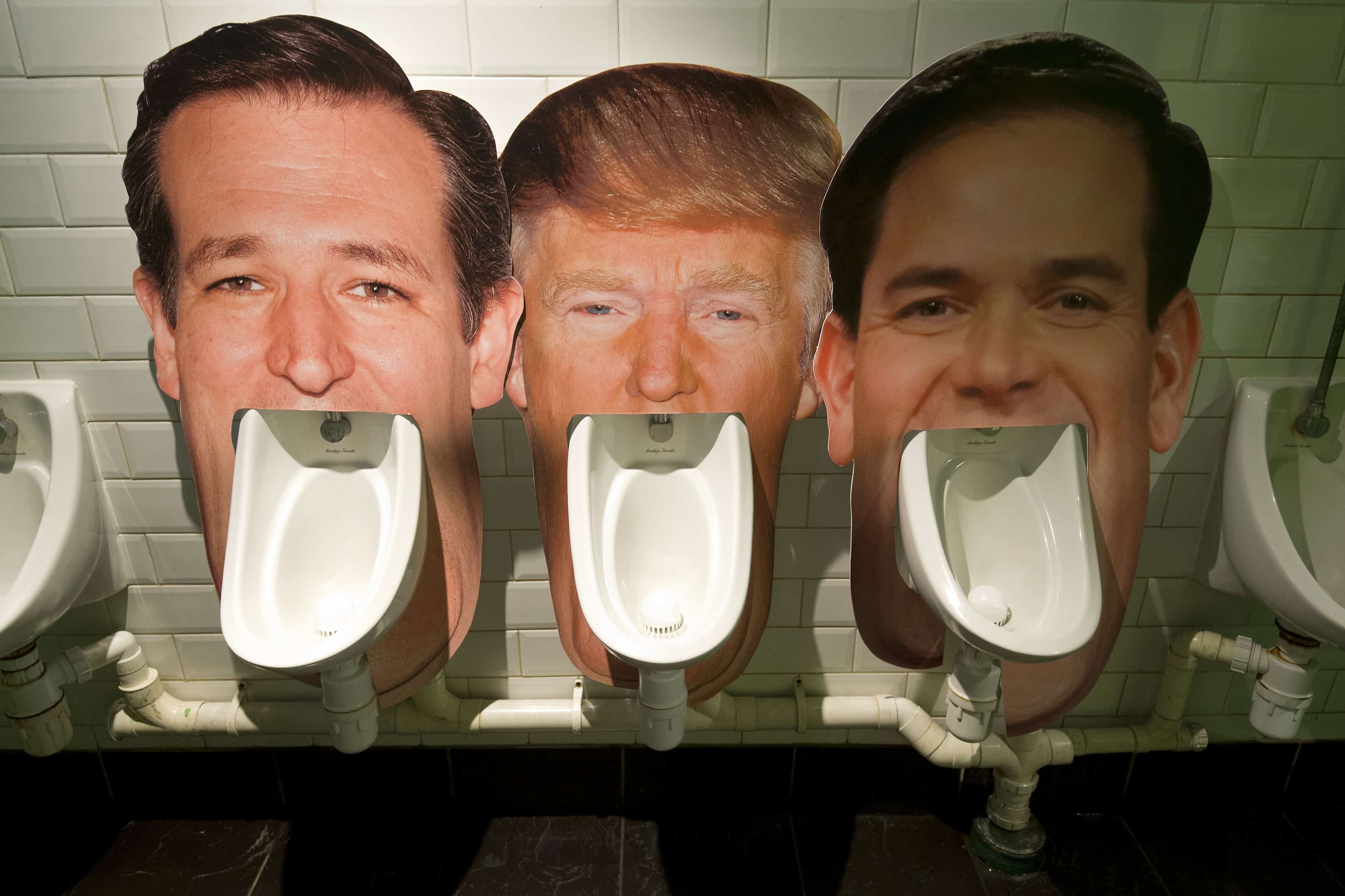 Trump mexico; Cardboard cutouts of Republican presidential candidates (left to right) Ted Cruz, Donald Trump and Marco Rubio