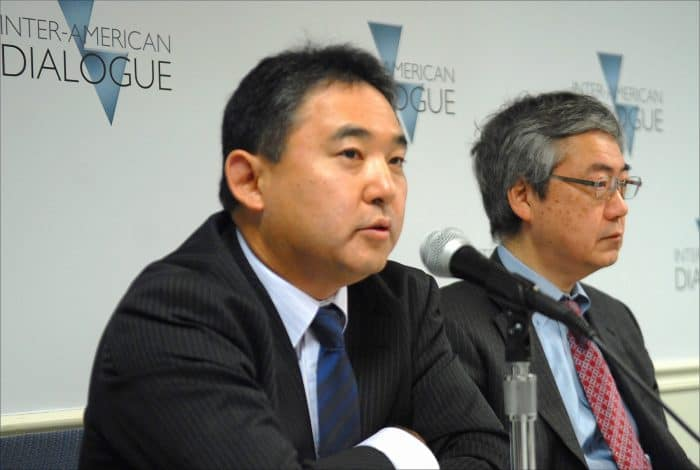 Norihide Tsutsumi of Mitsubishi Peru, left, and Kazushige Taniguchi of the Inter-American Development Bank | Japan investment in Latin America