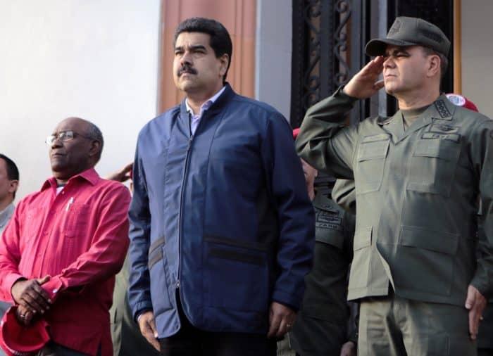 President Nicolás Maduro, center, with Vice President Aristóbulo Istúriz, left, and Defense Minister Vladimir Padrino López