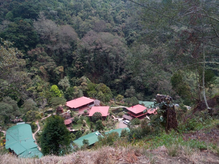 Trogon Lodge, viewed from the road above.