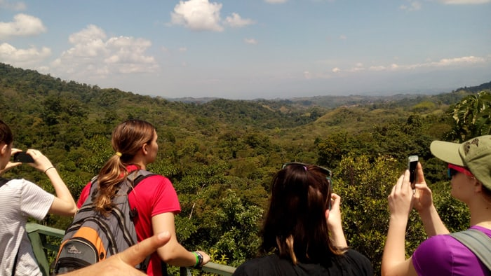 Students take in the view from the observation tower.