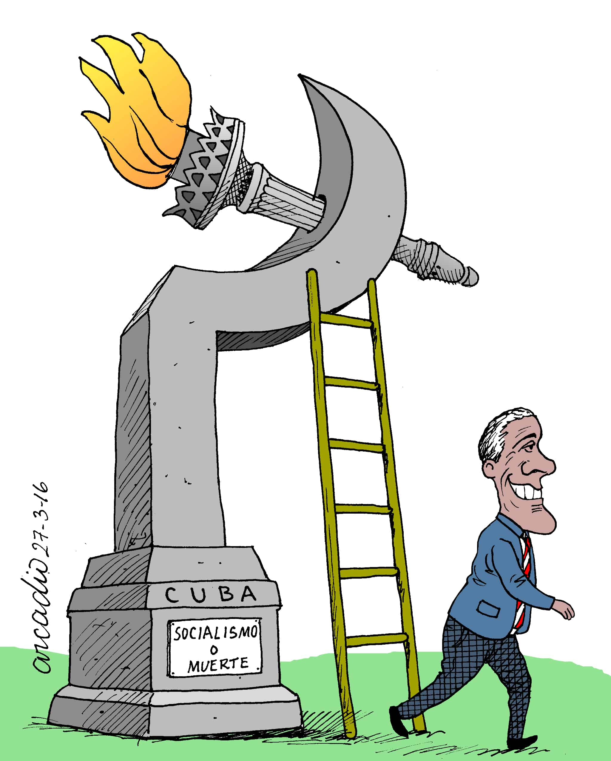 Arcadio cartoon on Obama in Cuba