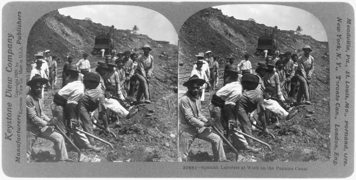 A 1909 stereographic photo shows Spanish laborers working on the Panama Canal.