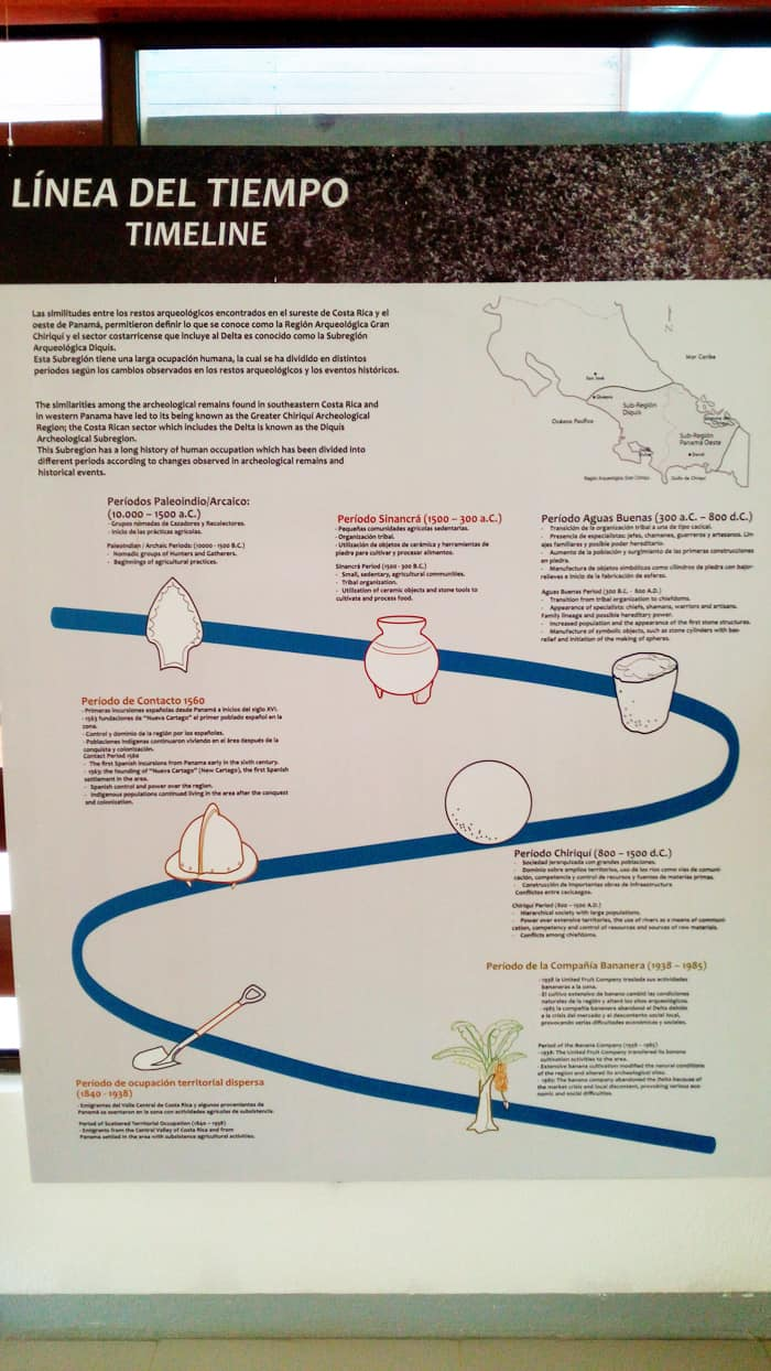 A timeline of the area, from the first inhabitants to the flight of the banana company.