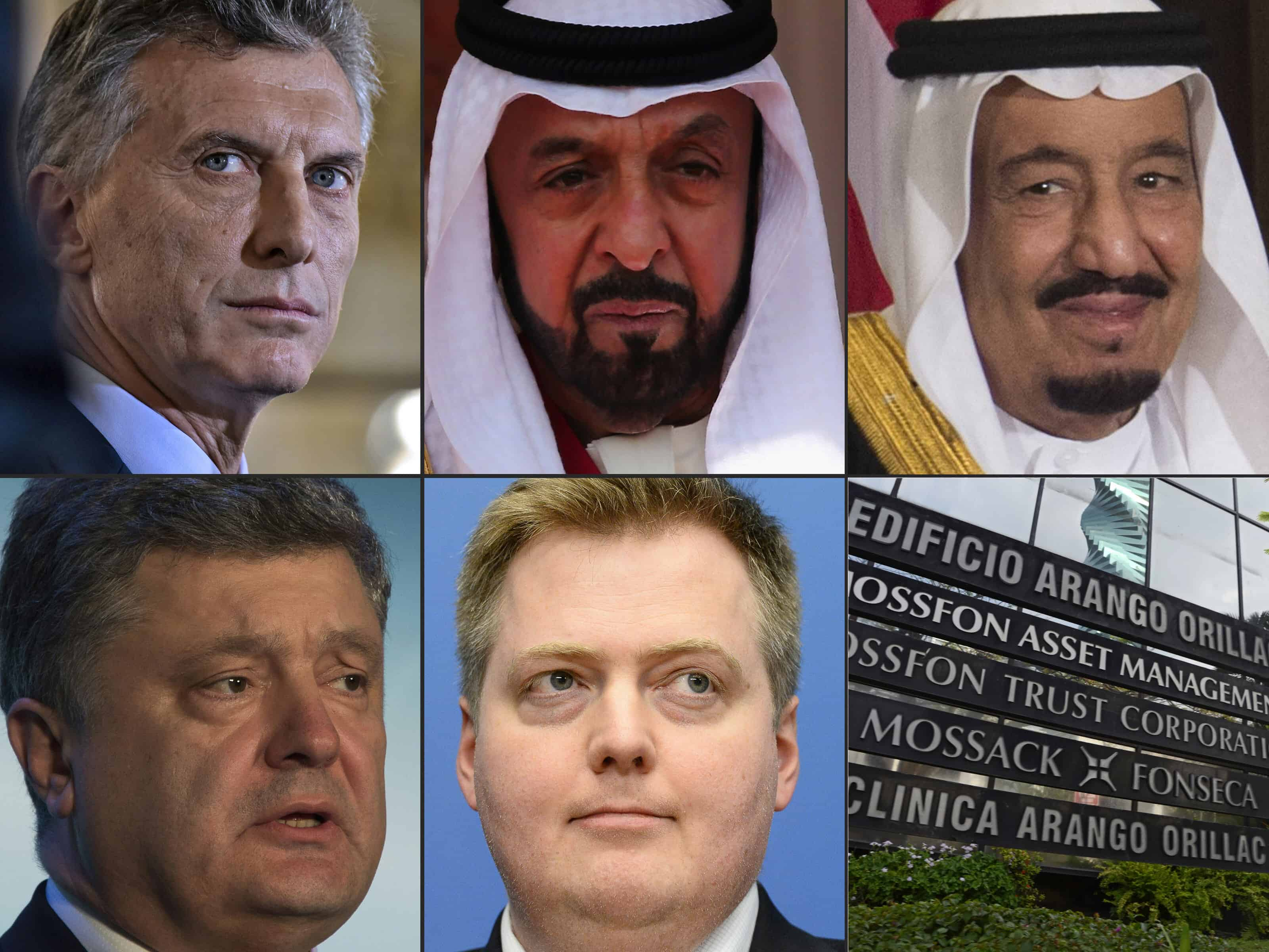 Panama Papers: Some of those mentioned in the Panama Papers leak, from top left, Argentina's President Mauricio Macri, Emirati President Sheikh Khalifa bin Zayed al-Nahayan and Saudi King Salman bin Abdulaziz, Ukraine President Petro Poroshenko and former Prime Minister of Iceland Sigmundur David Gunnlaugss. At bottom right, Panama-based law firm Mossack Fonseca.