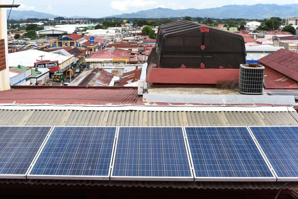 Solar panels at Llobet and Sons department store in Alajuela