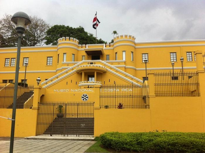 The yellow exterior of the Museo Nacional de Costa Rica.