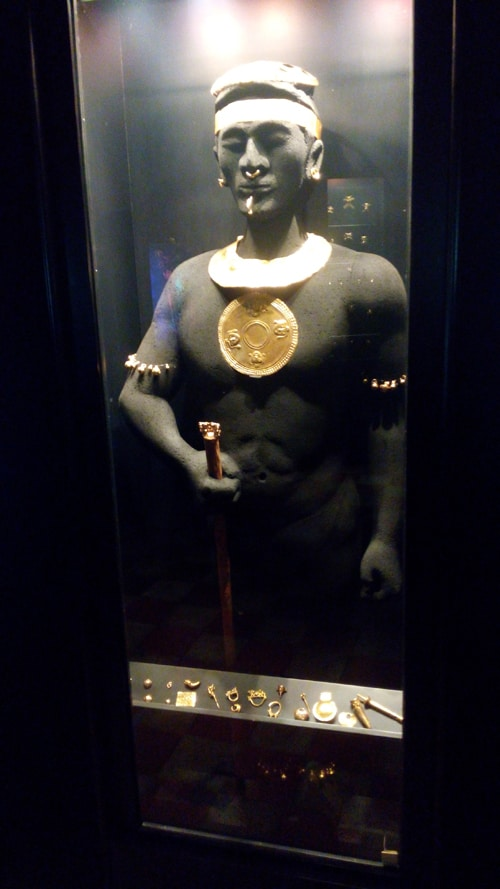 Representation of indigenous man wearing gold to denote his rank.