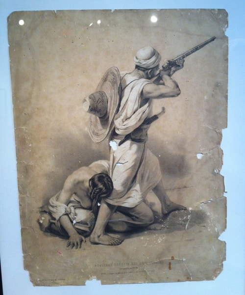 Lithograph of a man shooting a rifle with a woman at his feet