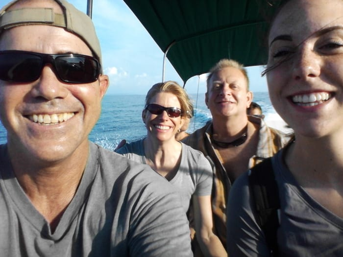 Karl, Cindy, Murphy and Mia riding the boat to Corcovado.