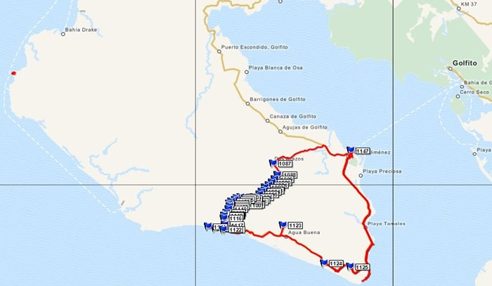GPS map of two days' travel, with red representing mostly the area we drove (counterclockwise) and the clustered blue flags representing the area we walked, on four legs or two.