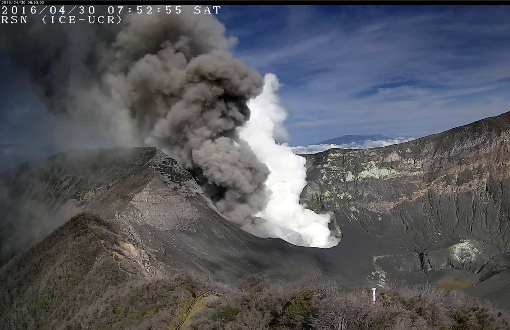 Column Next To A White Of Vapor Coming From Turrialba Volcano Located Some 50 Kilometers East Costa Ricas Capital San Jose Via RSN UCR