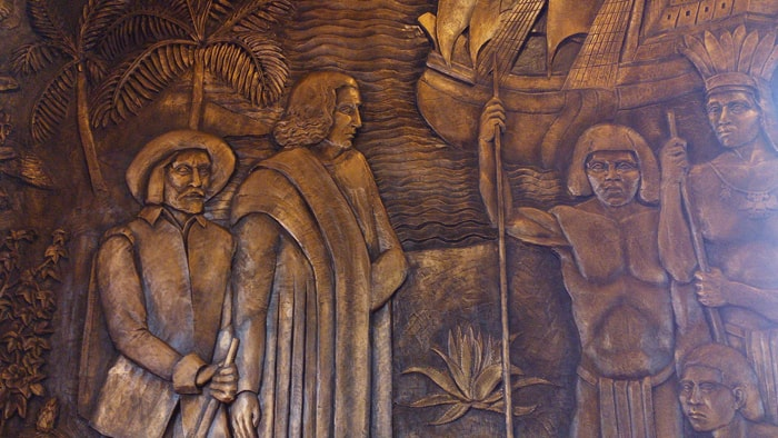 Detail of a mural by Louis Ferón Parizot depicting Costa Rican history from pre-Columbian times through 1940.