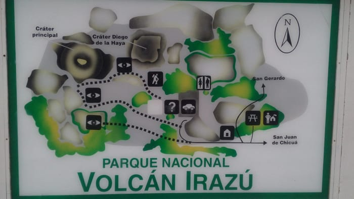 Sign showing the layout of Irazú Volcano National Park.
