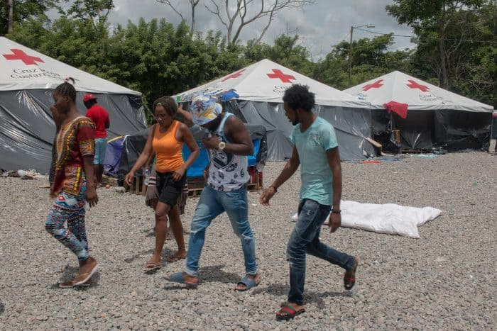 migrants at Red Cross camp in Paso Canoas