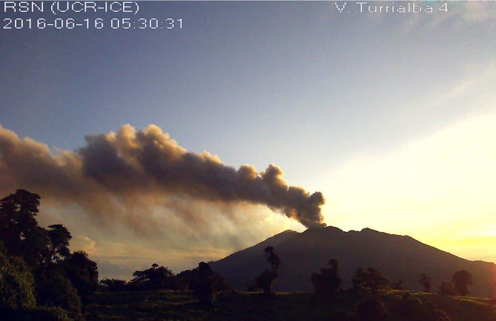 Ash spewing at Turrialba Volcano. June 16, 2016.