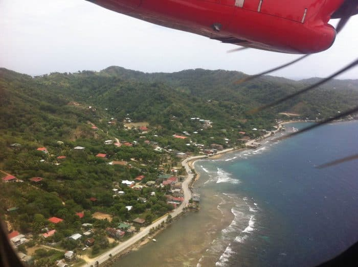 Roatán from the air.