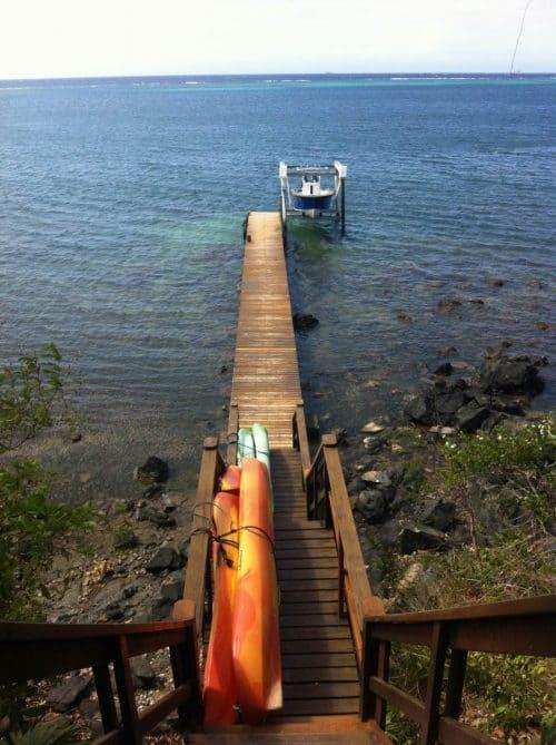 Dock (and kayaks) at Villas del Mar.