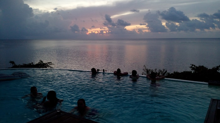 Taking in the sunset from the pool at our villa on Roatán.
