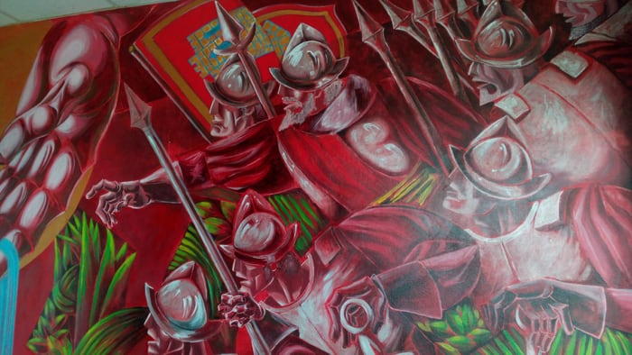 Detail of mural at the Municipal School of Integrated Arts depicting the Spanish conquest of Santa Ana.