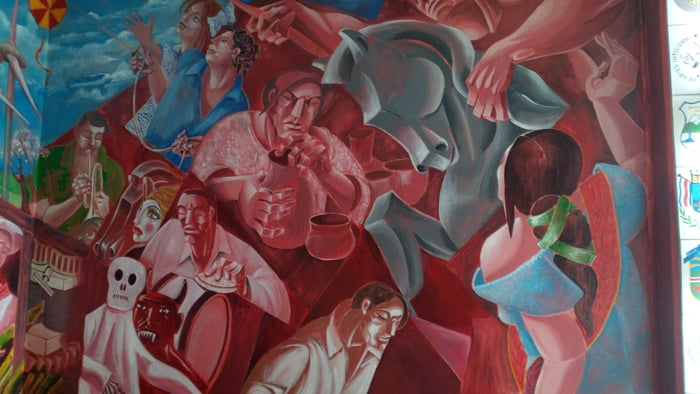 Detail of mural at the Municipal School of Integrated Arts depicting the modern era.