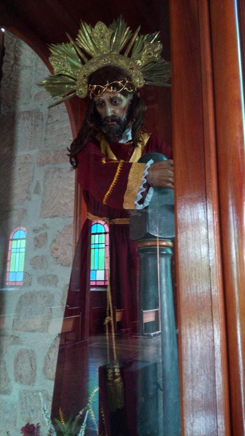Figure of Jesus inside Santa Ana church.