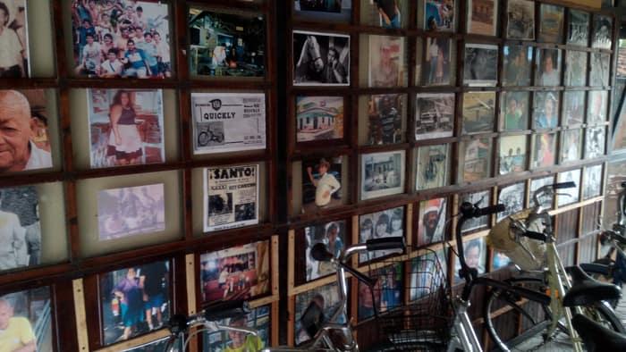 Photo wall at Antiguedades Santa Ana.