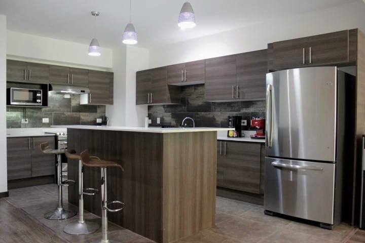 Kitchen at condo for rent at Nova Lofts.