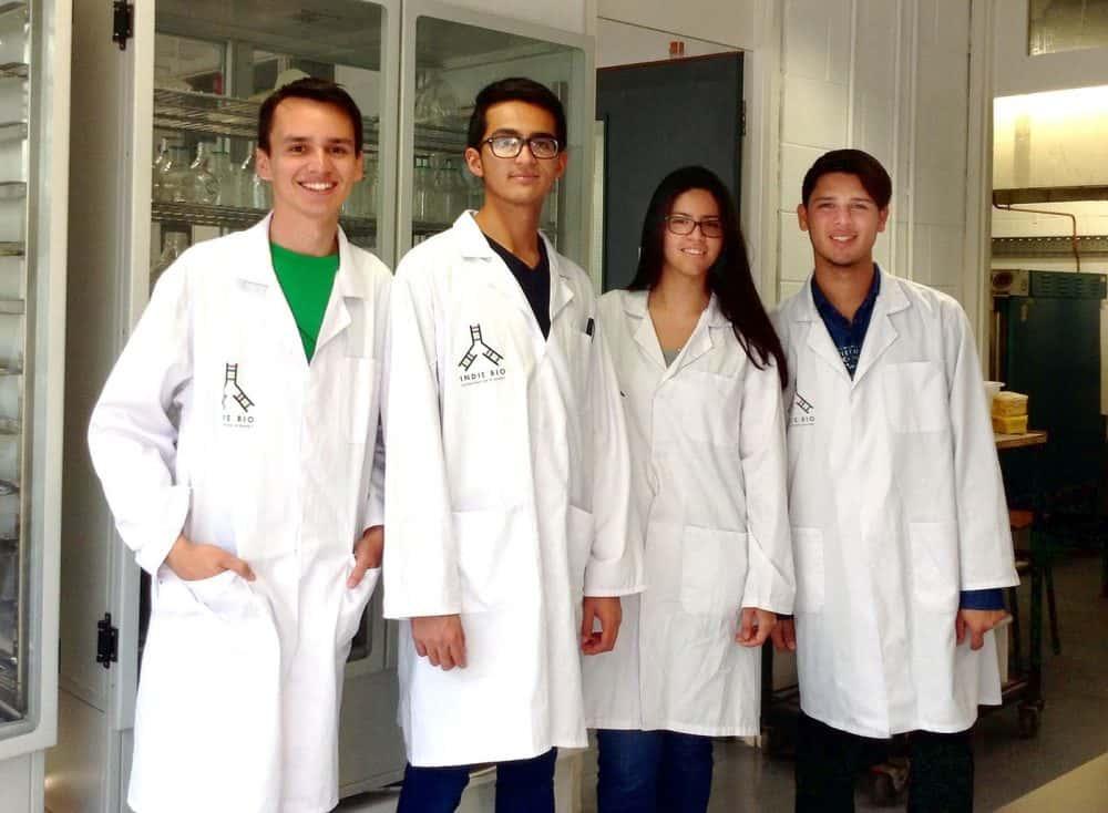 Costa Rican scientists Marcelo Castro, Rafael Lobo, Sofía Miranda and José Pablo Méndez.