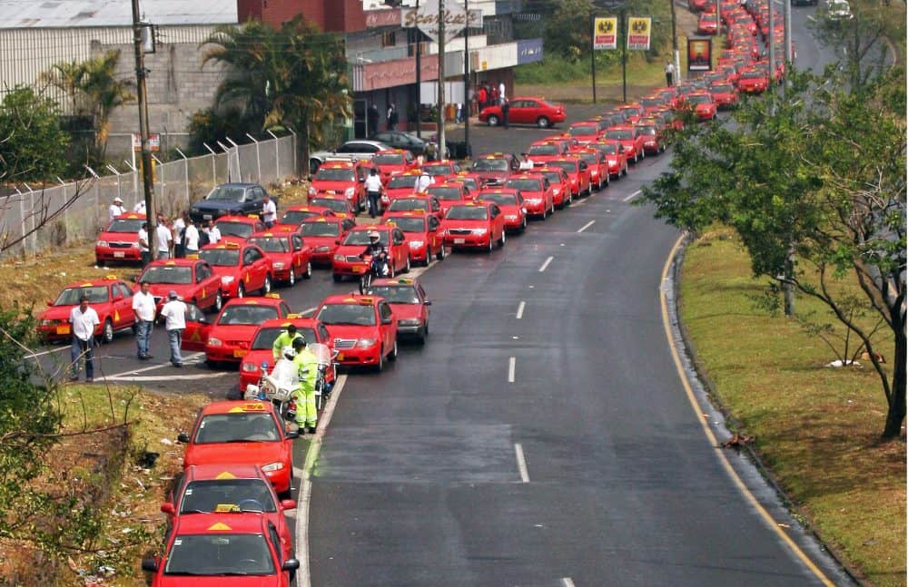 Taxi drivers demonstration in San José