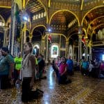 Pilgrims stream into the Basillica during Costa Rica's annual pilgrimage, the Romería.