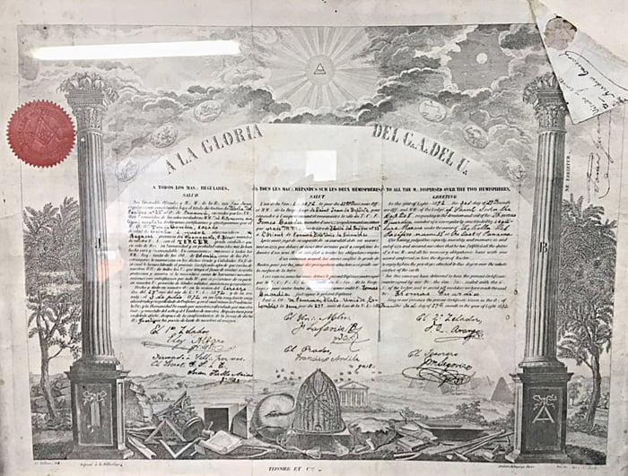 Certificate issued to José María Castro Madriz instating him as a Grand Master of Masonry.