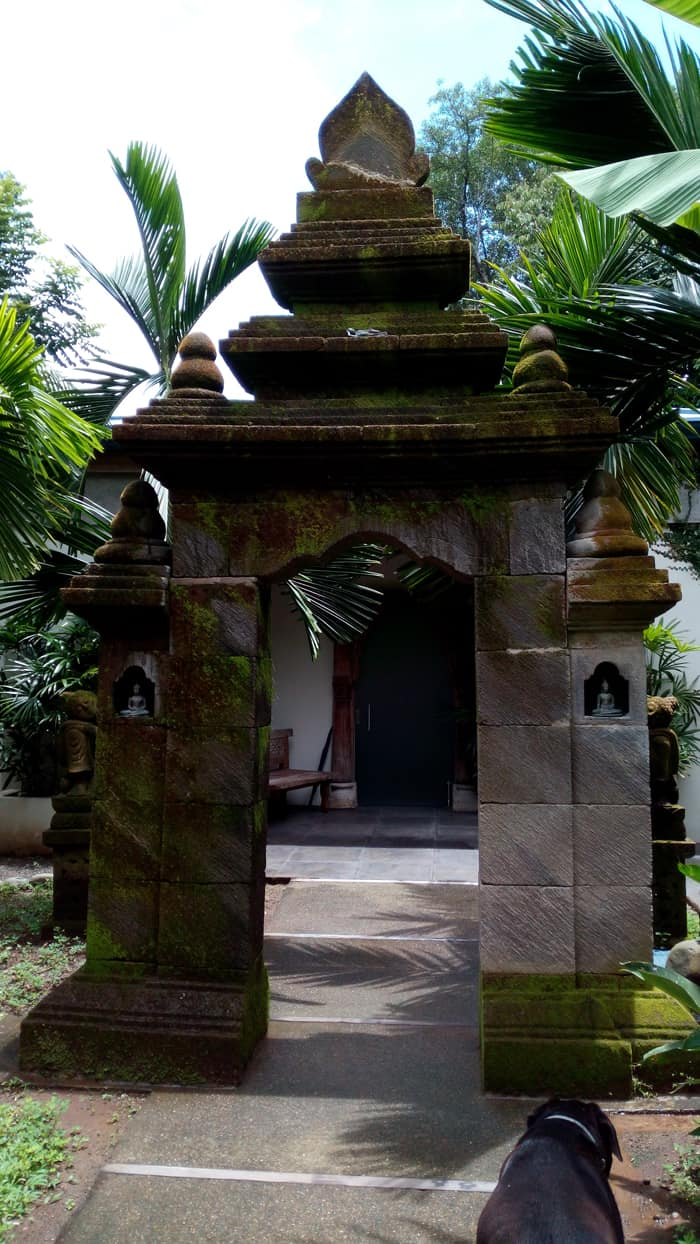 Temple archway imported from Bali at the entrance to Prana Rainforest Retreat, on the Villas Lirio road.
