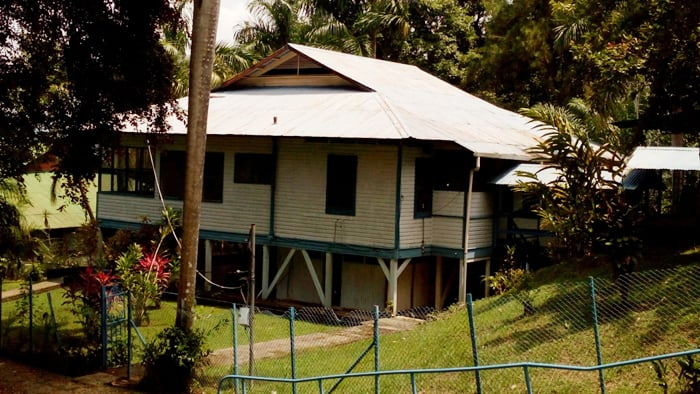 """An old banana company building in the """"American Zone"""" in Quepos."""