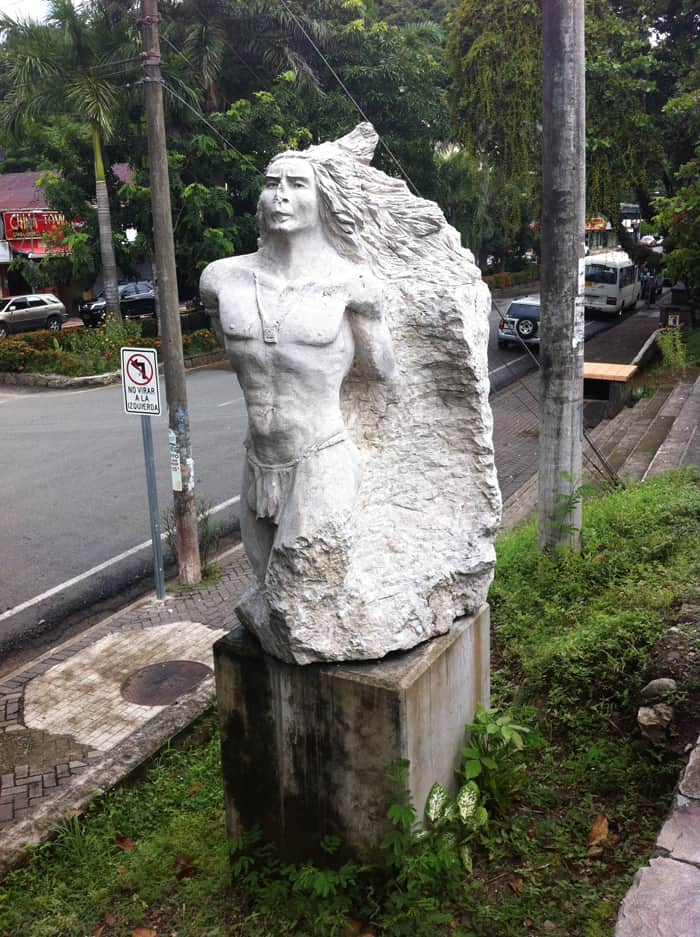 A sculpture on the Quepos malecón honors the Quepo indigenous group who were here when the Spanish arrived.