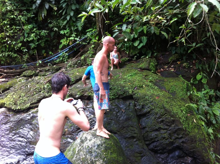 Shane Foley of Long Island assumes the position for some waterfall-jumping at Punta Mala.