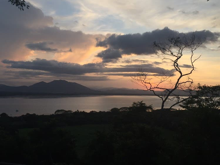 Sunset on the Gulf of Nicoya, viewed from the island's water tank.