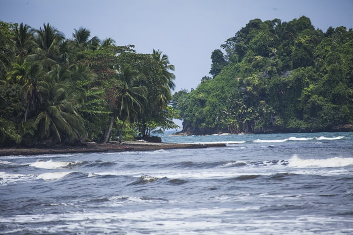 A view of the small gap between Punta Mona and a neighboring island.