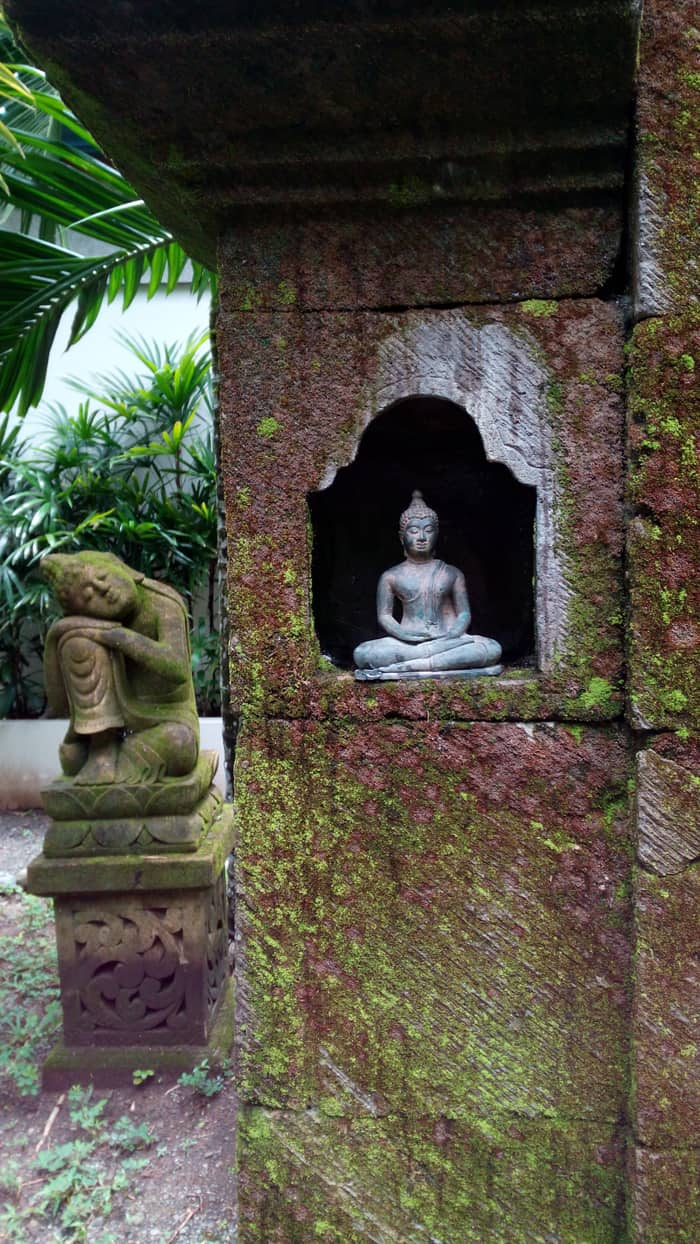 Imported Hindu sculptures at Prana Rainforest Retreat.