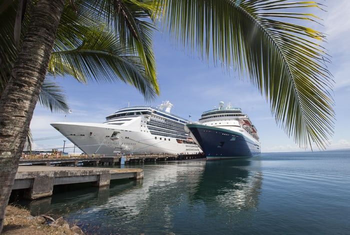 Cruise ships lined up at the Port of Limón.