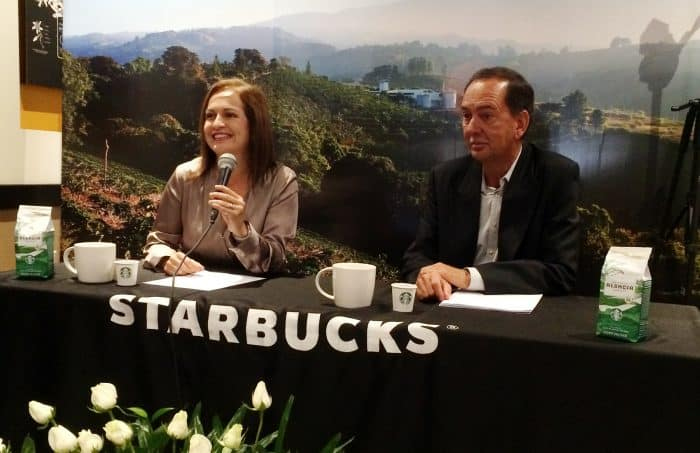 Starbucks Country Manager Mónica Bianchini and Director of Global Agronomy Carlos Mario Rodríguez Solís. Jan. 26, 2017.
