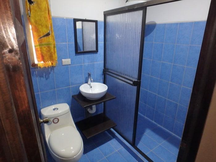 Tiled bathroom.