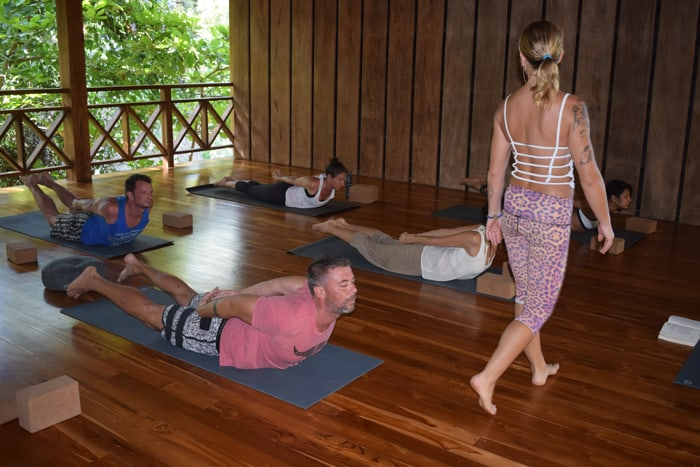 Yali, an instructor from New Zealand, presides over a yoga class at the Bodhi Tree in Nosara.