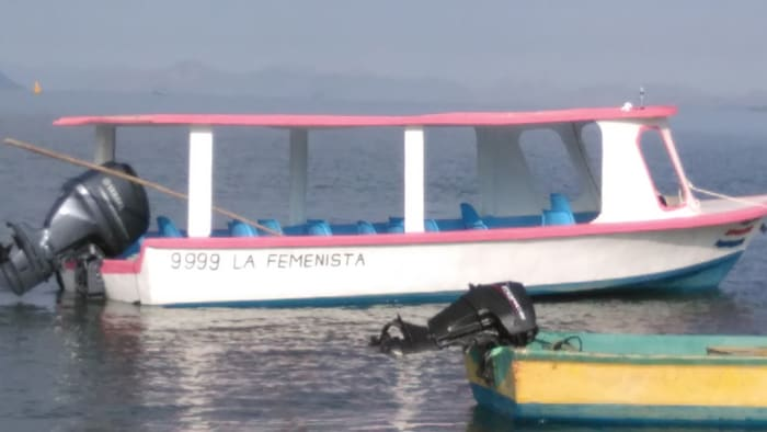 One local woman is working hard to create jobs and income for local women via recycled art and tours of the gulf. The tours utilize the boat shown here. The captain is her husband, and the name and color scheme have no doubt caused him some grief at the local watering hole.