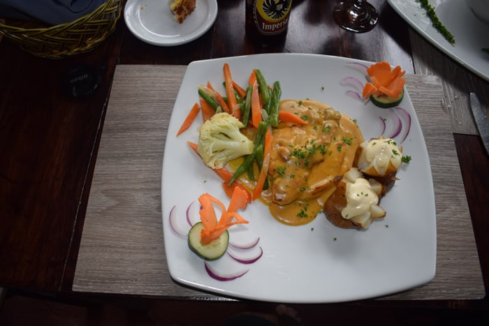 Chicken in a delicious peanut sauce, with mini-baked potatoes smothered in sour cream.
