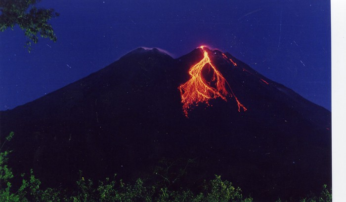 A lava flow from Arenal in 2000.